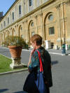 pic of Kathy in the central square just outside the entrance to the Vatican's museum.