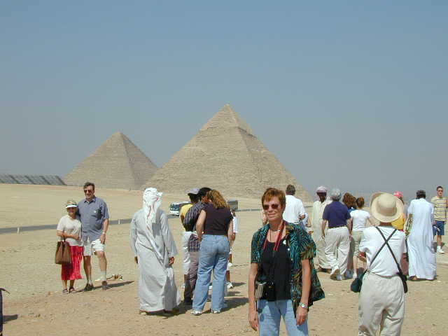 Photo of Kathy at the pyramids in Egypt