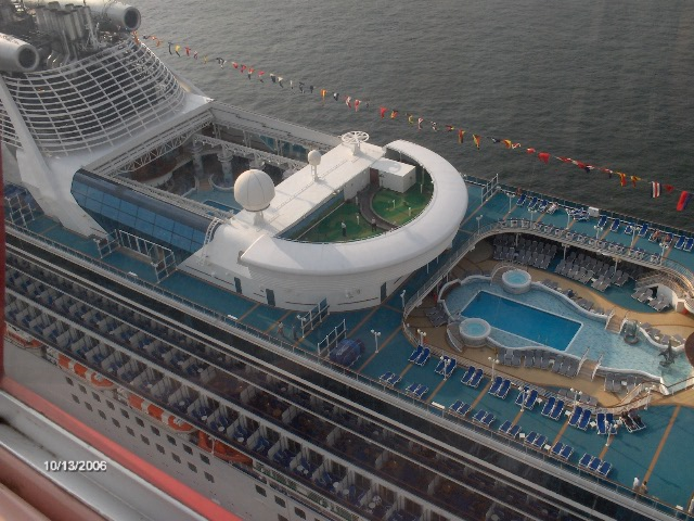 Photo of the Sapphire Princess docked at Osaka Japan about to leave on a cruise to the Orient
