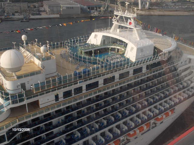 Photo of the Sapphire Princess Cruise Ship from atop the Tempozan Ferris Wheel in Osaka Japan